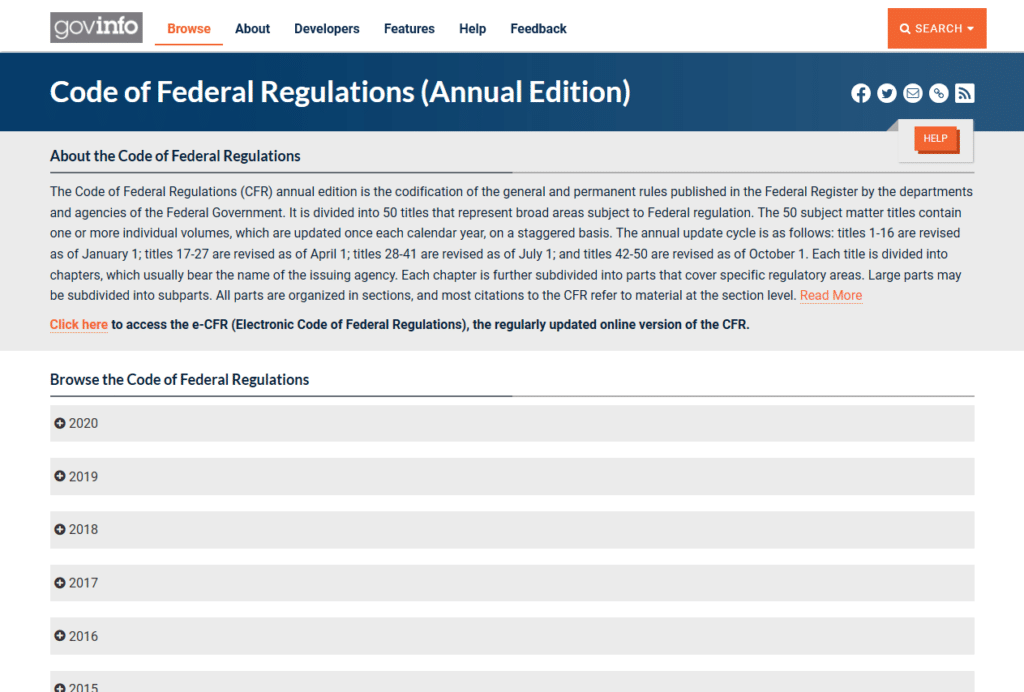 What is the Code of Federal Regulations?
